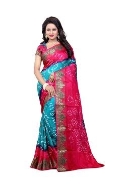 Aasvaa Blue & Pink Art Silk Saree With Blouse