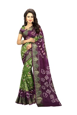 Aasvaa Green & Purple Art Silk Saree With Blouse