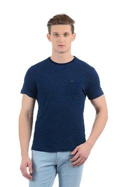 Indian Terrain Blue Crew Neck Printed T-Shirt