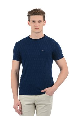 Indian Terrain Navy Printed Crew Neck T-Shirt