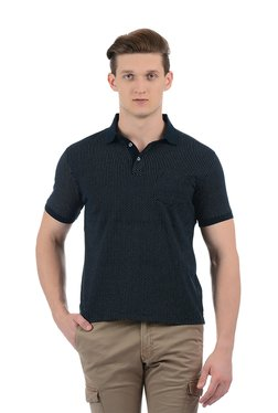 Indian Terrain Navy Printed Half Sleeves Polo T-Shirt
