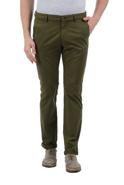 Indian Terrain Olive Slim Fit Low Rise Trousers