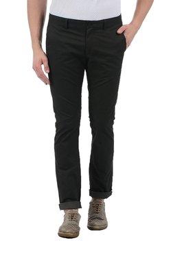Indian Terrain Black Slim Fit Flat Front Trousers