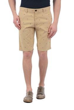 Indian Terrain Beige Printed Regular Fit Bermuda Shorts