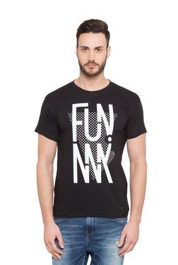 Globus Black Printed Round Neck Cotton T-shirt