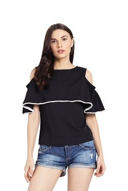 Rigo Black Cold Shoulder Top