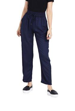 Rigo Navy Blue Regular Fit Drawstring Trousers