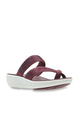 8527a875c10aa Clarks Wave Dazzle Maroon Embellished Sandals for women - Get ...