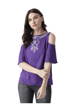 MsFQ Purple Embroidered Cold Shoulder Top