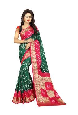 Aasvaa Green & Pink Art Silk Saree With Blouse