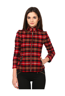 The Vanca Red Checks Polyester Jacket