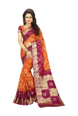 Aasvaa Orange & Pink Art Silk Saree With Blouse