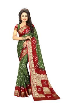 Aasvaa Green & Red Art Silk Saree With Blouse