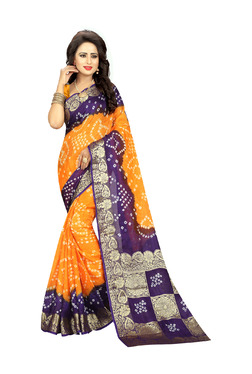 Aasvaa Yellow & Blue Art Silk Saree With Blouse
