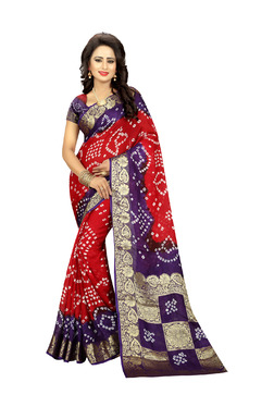 Aasvaa Red & Purple Art Silk Saree With Blouse
