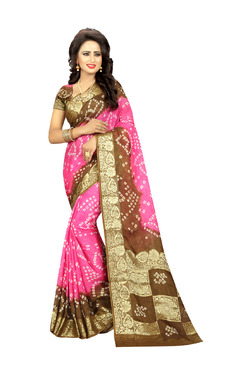 Aasvaa Pink & Brown Art Silk Saree With Blouse