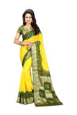 Aasvaa Yellow & Green Art Silk Saree With Blouse
