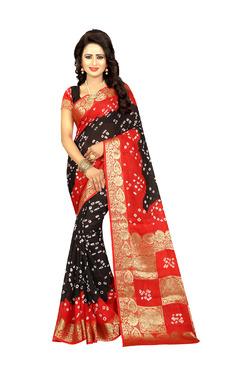 Aasvaa Black & Red Art Silk Saree With Blouse