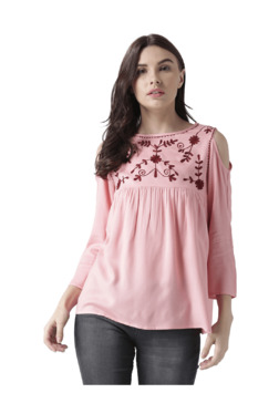 MsFQ Pink Embroidered Cold Shoulder Top