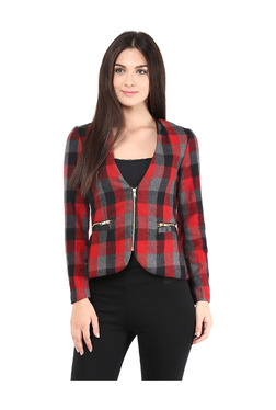 The Vanca Red & Grey Checks Polyester Jacket