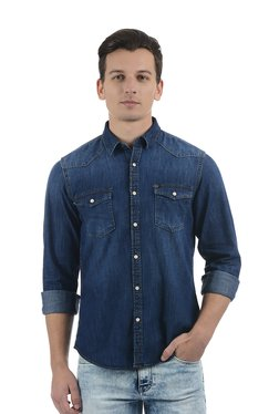 Pepe Jeans Blue Full Sleeves Cotton Shirt