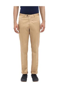 ColorPlus Khaki Slim Fit Flat Front Trousers