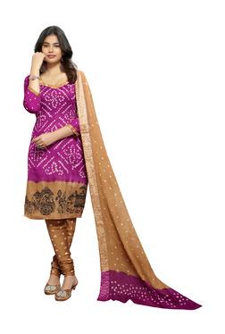 Aasvaa Purple & Beige Satin Cotton Dress Material