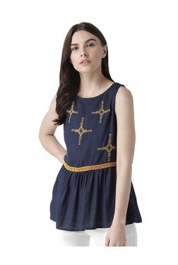 The Vanca Navy Embroidered Top - Mp000000003599486