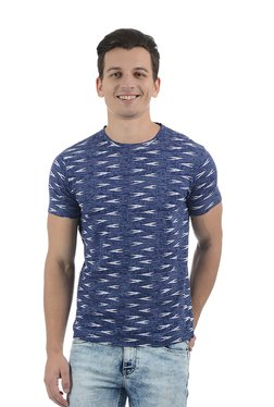 Pepe Jeans Blue Printed Round Neck Cotton T-Shirt