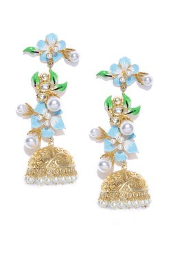 Priyaasi Flower Golden Alloy Jhumki Earrings