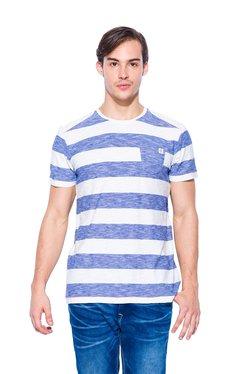 Mufti Blue & White Cotton Striped T-Shirt