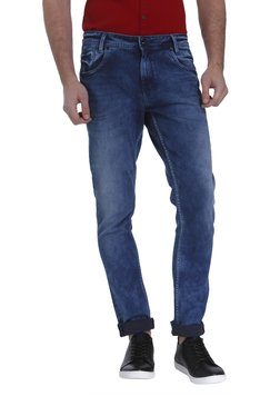 Mufti Dark Blue Solid Mid Rise Jeans