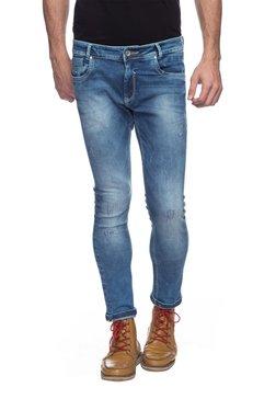 Mufti Dark Blue Skinny Fit Distressed Jeans