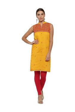 Soch Yellow Printed Chanderi Straight Kurti