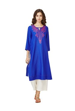 Global Desi Blue Printed Polyester Kurta