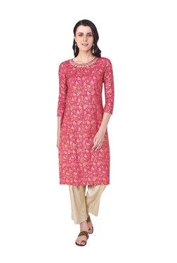 Global Desi Pink Printed Viscose Straight Kurta