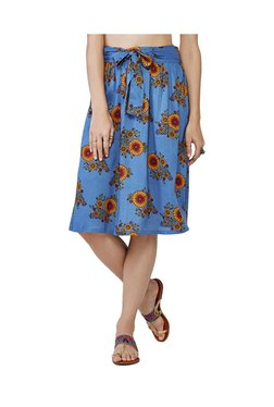 Global Desi Blue Floral Print Knee Length Skirt