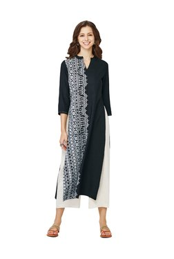 Global Desi Black Printed Polyester Kurta