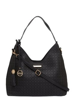 Globus Black Cut Work Hobo Shoulder Bag