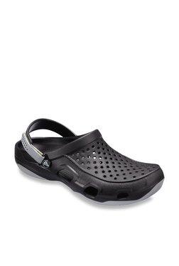 0d45c1ac9 Crocs Swiftwater Deck Black   Light Grey Back Strap Clogs