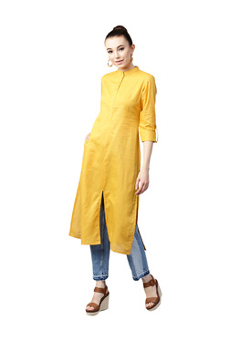 Gerua Yellow Cotton Straight Kurta