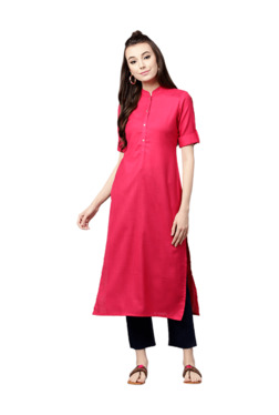 Gerua Pink Cotton Straight Kurta