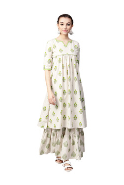 Gerua Off White Cotton A-Line Kurta With Skirt