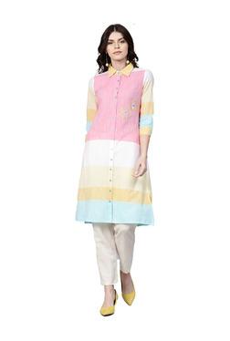 Jaipur Kurti Yellow & Pink Yarn Dyed Cotton Kurta