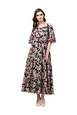 Gerua Black Floral Print Flared Maxi Dress