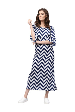 Gerua Navy Printed A-Line Midi Dress