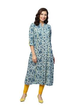 Jaipur Kurti Blue Floral Print A-Line Cotton Kurta