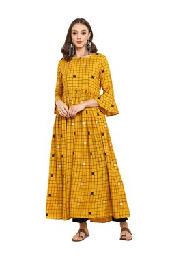 Varanga Mustard & Black Viscose Rayon Kurta With Pants