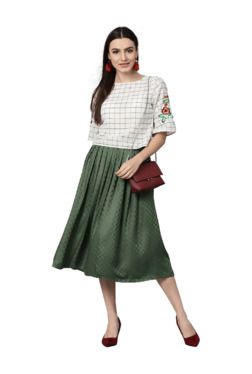 Jaipur Kurti Off White & Olive Cotton Top With Skirt