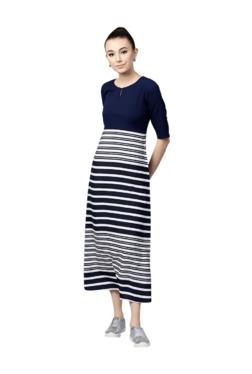 Gerua Navy Striped A-Line Midi Dress